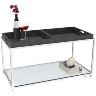 Convenience Concepts Palm Beach Rectangle Black Metal and Glass Coffee Table with Removable Trays   Coffee Tables