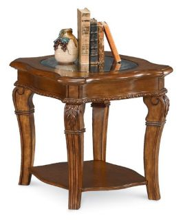 Wynwood Cordoba End Table with Glass Top   Burnished Pine   End Tables