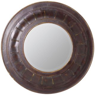 Cooper Classics Douala Leather Mirror   33 diam. in.   Wall Mirrors