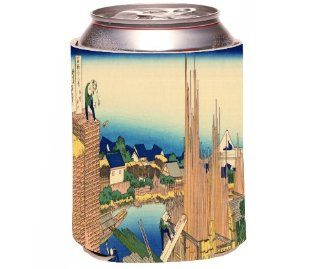 Rikki KnightTM Katsushika Hokusai Art The Timberyard at Honjo Design Drinks Cooler Neoprene Koozie Kitchen & Dining