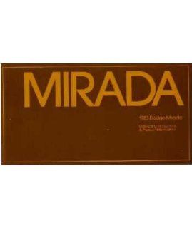 1983 Dodge Mirada Owners Manual User Guide Reference Operator Book Fuses Fluids Automotive