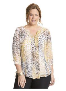 Lane Bryant Plus Size Animal print pleated back blouse     Womens Size 14/16,