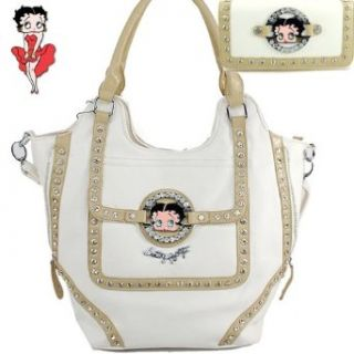 Betty Boop Fashion Unique Betty Boop Character and Gemstones Rhinestone Studded Two Line Zipper Embellishment Tote Satchel Handbag Purse with Wallet in White Clothing