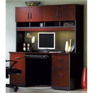 Via Credenza with Hutch Classic Cherry/Soft Black   Office Desks