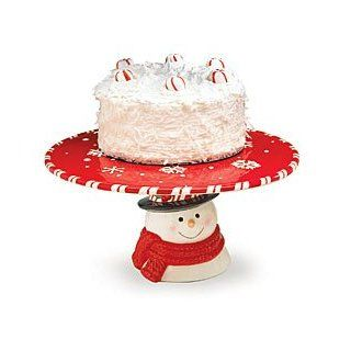 Peppermint Snowman Pedestal Cake Plate/Stand For Christmas Holiday Decor: Kitchen & Dining