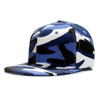 City Hunter Cf911a Camo Solid Fitted Baseball Cap   Royal Blue (Large Size): Everything Else