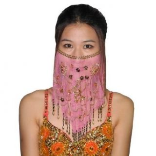 Ladies Charming Mesh Belly Dance Costume Face Veil With Sequins & Beads   Pink (Size: one size ): World Apparel: Clothing