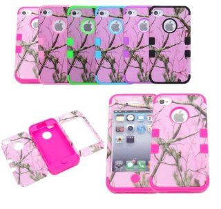 JUSTING@3 piece Triple Layer Hybrid Real Tree Camo Hybrid Hard Case Cover for Iphone 5/5S (hot pink): Cell Phones & Accessories