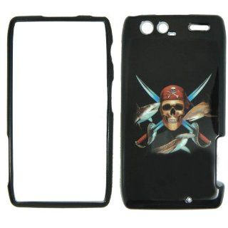 Motorola Razr Maxx XT916 Verizon   Pirate Skull Swords and Fish on Black Plastic Case, SnapOn, Protector, Cover: Cell Phones & Accessories
