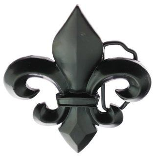 Black Metal Fleur de Lis Belt Buckle   French Flower Lily   Flur Belt Buckle
