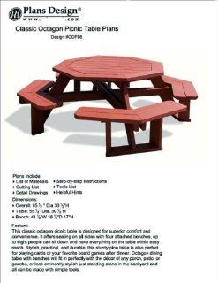 Octagon Style Picnic Table With Bench Woodworking Outdoor Furniture Plans Pattern #ODF08   Outdoor Furniture Woodworking Project Plans