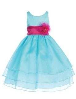 Calla Collection USA Girl's Aqua Beautiful Layered Organza Dress Special Occasion Dresses Clothing