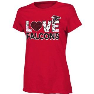 Atlanta Falcons Youth Girls Feel The Love T Shirt   Red  Sports Fan Apparel  Sports & Outdoors