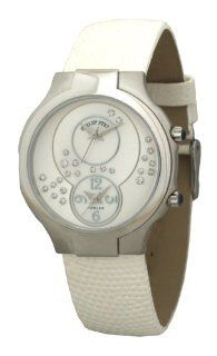 Philip Stein Teslar Womens White Lizard Strap Mother of Pearl Diamond Dial Dual Time Watch 6 SCDMOP ZW Philip Stein Watches