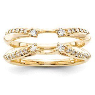 14k Yellow Gold Diamond Ring Guard: Jewelry