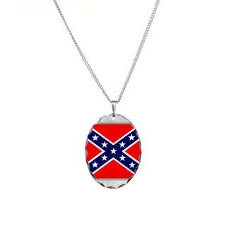Necklace Oval Charm Rebel Confederate Flag HD: Pendant Necklaces: Jewelry
