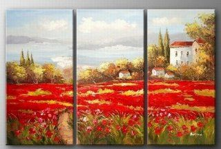 Italian Reb Poppy Filed Landscape Painting 3 Piece Canvas Art 100% Hand Painted Art Group Painting Abstract Oil Painting Wall Art  Gallery Wrapped Ready to Hang