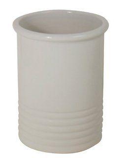 Chantal 2 Quart/5 1/2 Inch x 7 Inch Ceramic Ringed Utensil Holder, Glossy White Utensil Organizers Kitchen & Dining