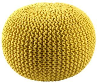 "16"" Yellow Cotton Rope Pouf Ottoman"