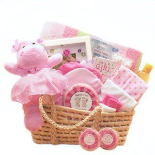 For a Precious New Baby Girl Gift Basket   Great Shower Gift Idea for Newborns  Moses Basket Organic  Baby