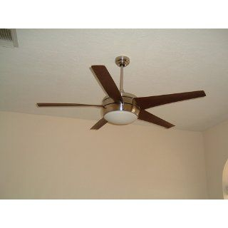 Emerson CF955BS Midway Eco Energy Star Indoor Ceiling Fan, 54 Inch Blade Span, Brushed Steel Finish, Midnight Bordeaux Blades and Opal Matte Glass   Ceiling Fan Dc Motor