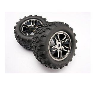 Traxxas 4983A Black Chrome Wheels with Geo Tire 17mm, Maxx and Revo, 2 Piece: Toys & Games