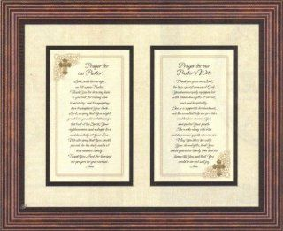 Prayer for Pastor and Pastor's Wife Heartfelt Appreciation Christian Sentiments 3 d Jewel with Pearlized Background Framed Print, Brown (17x14)   Christian Gift For Pastor