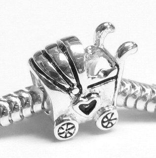.925 Sterling Silver Lover Heart Baby Carriage Cart Bead Charm For European Charm Bracelets Jewelry