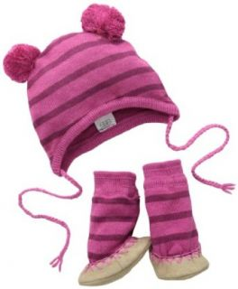 egg by susan lazar Unisex Baby Newborn Striped Knit Hat and Bootie Set, Lavander, 3 6 Months: Clothing