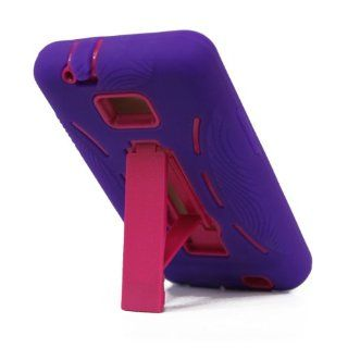 For Samsung Galaxy S II Galaxy SII Galaxy S2 Straight Talk Net10 SGH S959G S959G Hybrid Hard Rubber Case Purple Pink with Stand