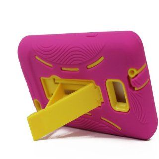 For Samsung Galaxy S II Galaxy SII Galaxy S2 Straight Talk Net10 SGH S959G S959G Hybrid Hard Rubber Case Pink Yellow with Stand