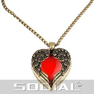 SODIAL(R) Gold Tone Angel Red Heart Guardian Angel Wing Crystal Pendant Necklace   SODIAL Retail Packaging: Jewelry