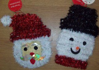 Tallon 2 Christmas Tinsel Wall Door Decorations   Santa & Snowman Faces   Nursery Wall Decor