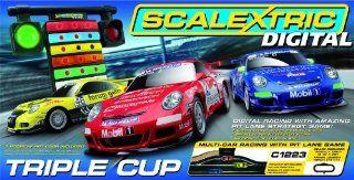 Scalextric 132 Digital Triple Cup Slot Car Race Track Set x3 Porsche 997 C1223T Toys & Games