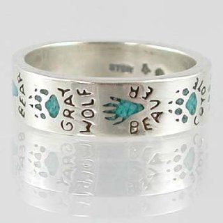 Southwestern Style Animal Track ( Raccoon, Moose, Mountain Lion, Coyote, Beaver, Gray Wolf and Bear ) Band Ring in Sterling Silver with Turquoise Chip Inlay for Men or Women, size 5, #11873: Taos Trading Jewelry: Jewelry