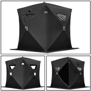 Black Folding Ice Fishing Shelter Tent 1 Person 2 Man Portable Fish Shanty House  Sports & Outdoors
