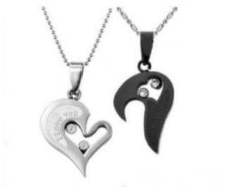 Couple Stainless Steel Necklace Sets I Love You Heart Shape Pendant (Black & Silver): Clothing