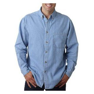 UltraClub Men's Long Sleeve Denim Pocket Shirt, Light Blue, X Large at  Men�s Clothing store