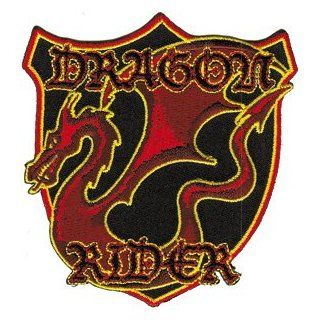 Red Dragon Rider Embroidered Iron On Applique Biker Patch