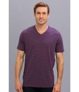 e4dd591ef0 Perry Ellis S S Cotton Stripe V Neck T Shirt Mens T Shirt (Blue)