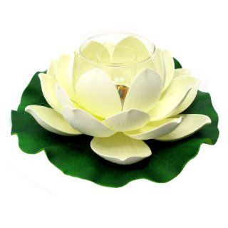 "Floating Lotus Flower with Glass Tealight Candle Holder, Large, Approximately 11"" Diameter x 4""H, Cream   Tea Light Holders"