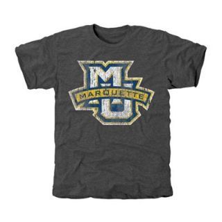Marquette Golden Eagles Distressed Primary Tri Blend T Shirt   Charcoal