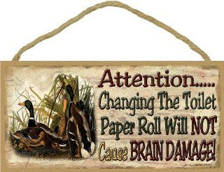 "Mallard Duck Changing Toilet Doesn't Cause Brain Damage Rustic Woods Cabin Bath Sign Plaque 5""x10""   Decorative Signs"