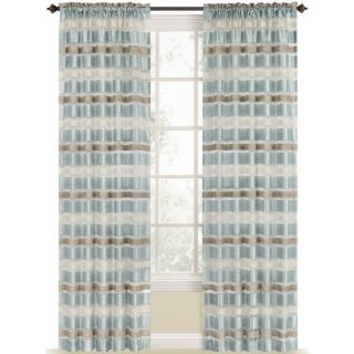 Style Selections Duran 84 in L Striped Mineral Blue Rod Pocket Window Curtain Panel