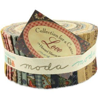 Moda Collections for a Cause Love Jelly Roll, Set of 40 2.5x44 inch (6.4x112cm) Precut Cotton Fabric Strips