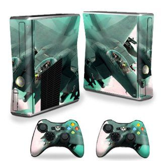 MightySkins Protective Vinyl Skin Decal Cover for Microsoft Xbox 360 S Slim + 2 Controller Skins Sticker Skins Fighter Jet: Video Games