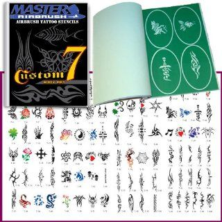 Master Airbrush� Brand Airbrush Tattoo Stencils Set Book #7 Reuseable Tattoo Template Set, Book Contains 100 Unique Stencil Designs, All Patterns Come on High Quality Vinyl Sheets with a Self Adhesive Backing.: Beauty