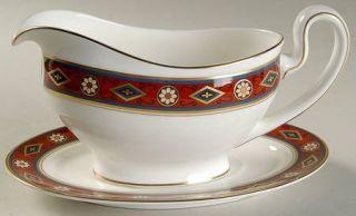 Minton Cordoba Gravy Boat & Underplate, Fine China Dinnerware   Red, Blue & Gold