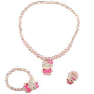 Hello Kitty bead jewelry set   1x necklace, 1x bracelet, 1x ring   RANDOM STYLES SENT   Strand Necklaces