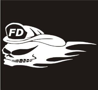 """Firefighter Decals.. Fear Fire Skull With Flames Decal Sticker Laptop, Notebook, Window, Car, Bumper, EtcStickers 6""""x3""""in. in WHITE Exterior Window Sticker with Free Shipping: Everything Else"""